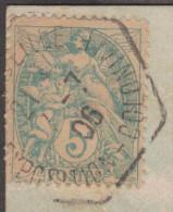 France 1906  Y&T 111. 5 C Blanc, Oblitération Marseille Exposition Coloniale, Pour Port-Said, Egypte. Palais Du Cambodge - 1900-29 Blanc