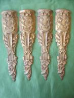 Ancien Bronze Decoratif D' Ameublement: 4 Chutes De Meuble En Bronze Dore, Decor Feuilles De Laurier (14-2723) - Mobili