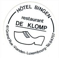 AUTOCOLLANT STICKER VIANDEN LUXEMBOURG - HOTEL BINGEN RESTAURANT DE KLOMP - Aufkleber