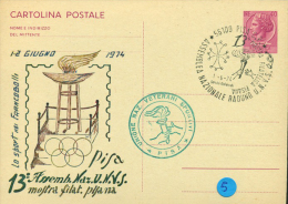 PISA - 13^ ASSEMBLEA NAZ. U.N.V.S.- VETERANI  SPORTIVI -CARTOLINA INTERO POSTALE CON SOPRASTAMPA PRIVATA - Plongeon