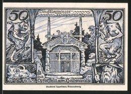 Notgeld Thale Am Harz 1921, 50 Pfennig, Stadtwappen, Teufelsmauer Und Walpurgishalle - [11] Emisiones Locales