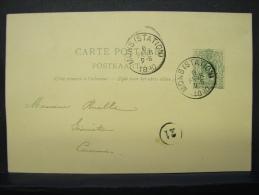 EP. 7. 5 Centimes. Mons Station 1890. Meur Ruelle Géomètre. Cachet Rond N°21 - Entiers Postaux