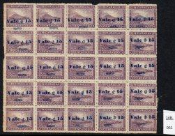 (*)  Nicaragua 1904 15c/5c Railway Train Momotombo Volcano Full Pane/25 Mint - See Text - Trains