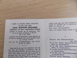 Doodsprentje Jean Baptiste Descamps Komen 25/9/1881 Wervik 2/5/1962 ( Adonise Marie Deman ) - Religione & Esoterismo