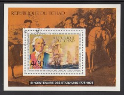 Chad Used Scott #C186 Souvenir Sheet 450fr Count De Grasse's Victory At Cape Charles - US Bicentennial - Indépendance USA