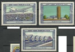 USA 1939 New York World`s Fair Polish Pavillion Air Plane Etc MNH - Cinderellas