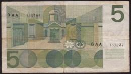 Pays Bas-Netherlands  5 Gulden Vondel 1 * - 26-4-1966-NR: 6 AA 113787 - [2] 1815-… : Royaume Des Pays-Bas