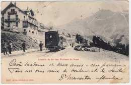 CHEMIN De Fer Des Rochers De Naye, Bergbahn, Station, Karte Gelaufen 1902, Schöne Doppelfrankierung - Schweiz