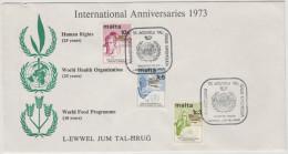 MALTA - 1973 - INTERNATIONAL ANNIVERSARIES - Valletta - FDC - WHO