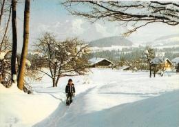 Cordon - La Chaine Du Mont-Blanc Vue Du Village, En Hiver - Enfant Dans La Neige - Francia