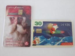 Chip Phonecard,2000,2004 Christamas Two Cards,used - Latvia