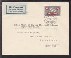 1925. Durch Flugpost Zürich - Stuttgart - Hamburg - Kopenhagen - Malmö. 50 Cent. ZÜRICH... (Michel: 184) - JF109801 - Posta Aerea