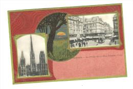 ROUEN CPA 76 PLACE DE LA REPUBLIQUE Animée TRAMWAY Tbe     1918 - Rouen