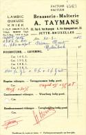 BRASSERIE - 2 Factures 1966 Brasserie § Malterie Taymans à JETTE  --  22/802 - Alimentaire