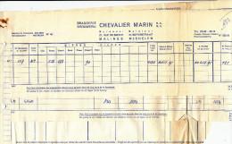 BRASSERIE - Dossier 5 Documents - Brasserie Chevalier Marin à MECHELEN MALINES  --  22/813 - Levensmiddelen