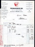 Facture Fromagerie BEL, La Vache Qui Rit, Lons Le Saunier, Pour épicerie à Matour. 4 Août 1941. - Food