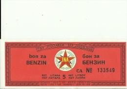 FUEL COUPON  --  5 LITER BENZIN   --  JNA ( YUGOSLAV ARMY )  RRR - Yugoslavia