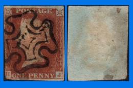 GB 1841-0137, QV 1d Deep Red-Brown Letters H-J SG10, MC Cancel - 1840-1901 (Victoria)