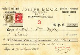 BELGIQUE CARRIERES - Document Financier Via Poste Belge 1910 - J. Beck , Maitre De Carrières à LIEGE  -- VV450 - Géologie