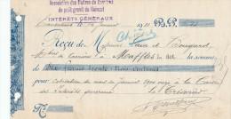 BELGIQUE CARRIERES - Document Financier Via Poste Belge 1911 - Association Des Maitre De Carrières Du Hainaut  -- VV451 - Géologie
