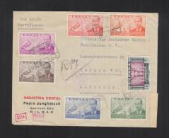 Carta Por Avion Certificado 1940 Censura Militar Bilbao - 1931-Heute: 2. Rep. - ... Juan Carlos I