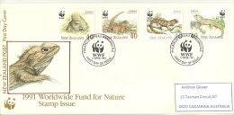 Reptiles Protégés De NOUVELLE-ZELANDE. Belle Lettre FDC Adressée En Australie. Yv. Nr 1104/07 - Reptiles & Batraciens