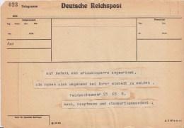 Feldpost 2 Weltkrieg Telegramm Von Feldpostnummer Ca 1943 - Covers & Documents