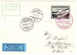 Liechtenstein Zeppelin Sonderflug 10.6.1931 1Fr. Auf Brief Nach Bad Salzelman 2Fr. Nach Dortmund Beide Mit  Attest - Poste Aérienne