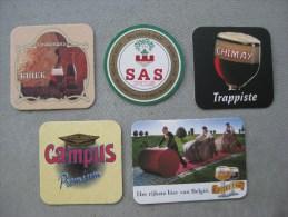 5 Sous-bocks : SAS, Campus, Chimay Trappiste, Kriek, Kasteel. - Portavasos