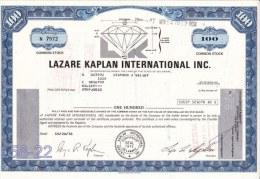 Shares: USA 1978 Lazare Kaplan International Inc. 100 Shares (L58-22) - Shareholdings