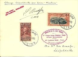 """CONGO BELGE - T.P. 139 + PA 1 s/Carte par Vol LIBENGE (5.11.37) - LEOPOLDVILLE par Avion """"Phal�ne"""" + signature du pilote"""