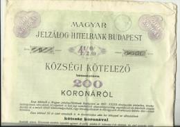 OBLIGATION  ---   HUNGARY  ---  HITELBANK BUDAPEST  --  1897  ---  BIG FORMAT  42 Cm X 28 Cm - Bank & Versicherung
