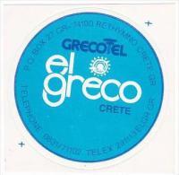 GREECE CRETE HOTEL EL GRECO VINTAGE LUGGAGE LABEL