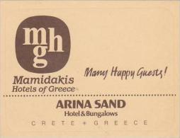 GREECE CRETE MAMIDAKIS HOTEL VINTAGE LUGGAGE LABEL