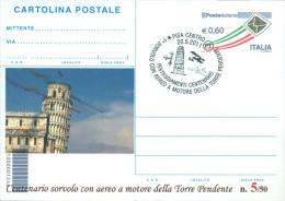 PISA - SORVOLO CON AEREO A MOTORE DELLA TORRE DI PISA-  CARTOLINA INTERO POSTALE -SOPRASTAMPA PRIVATA - Meetings