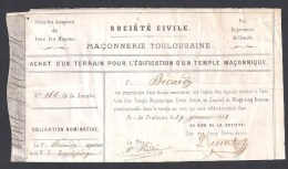 Franc Maçon - Action Pour Achat D´un Terrain Pour L´Edification D´un Temple Maçonnique à Toulouse - Shareholdings