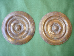 Ancien Bronze Decoratif D´ Ameublement: Paire De Decoration De Meuble En Bronze Dore (14-2729) - Muebles
