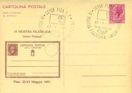 PISA - 9^ MOSTRA FILATELICA - CARTOLINA INTERO POSTALE - SOPRASTAMPA PRIVATA - 1946-.. République