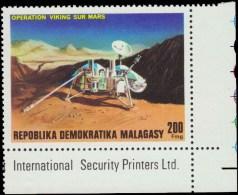 Malagasy Scott # 568, 200fr multicolored (1976) Viking Probe on Mars, Mint Never Hinged