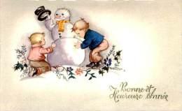 Belle Cpa  -    Petite Carte -  Bonne Et Heureuse Année. Enfants Fesant Un Bonhomme De Neige. M 564 - Nouvel An