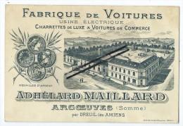 Carte De Visite - Fabrique De Voitures - Argoeuves Par Dreuil Les Amiens - Cartoncini Da Visita
