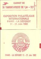 """CARNET 2187-C 4 Liberté De Delacroix """"PHILEXFRANCE 82"""" Avec R.E. Fermé Bas Prix RARE - Usage Courant"""