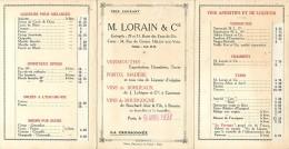 Ref  B377- Carte 3 Volets - Alcool - Le Vin- Spiritueux  - Tarifs M Lorain Et Cie  - Carte Bon Etat - - Publicité