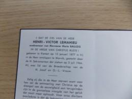 Doodsprentje Henri Victor Lemahieu Komen 15/1/1877 Wervik 3/7/1964 ( Marie Ballois ) - Religione & Esoterismo