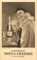 Ref  B361-publicité Alcool - Champagne Moet Et Chandon -dessin Illustrateur - Pierrot - Carte Bon Etat  - - Publicité