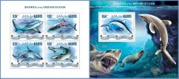 mld14310ab Maldives 2014 Fish Sharks 2 s/s