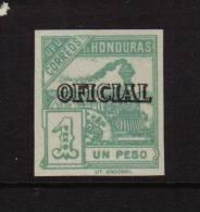 HONDURAS 1898 UPU 1PESO GREEN OFFICIAL OVERPRINT TRAINS IMPERF MNH - Honduras