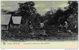 CONGO-Ka-Tanga-Campement à La Lisière De La Plaine Ka-Chichi- Animé  ZEBRE- Mauvais Scan Belle Carte - Congo Belge - Autres