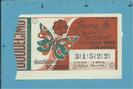 LOTARIA NACIONAL - 11.ª ORD. - 21.03.1985 - TREVO - BORBOLETA - Portugal - 2 Scans E Description - Loterijbiljetten