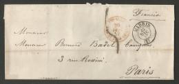 Espagne - LAC Non Affranchie Du 25/12/1857 De Madrid Vers Paris - Cachets Madrid St Jean De Luz Pyrénées Bayonne - 1850-68 Royaume: Isabelle II